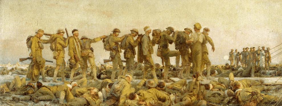 Fuente: John Singer Sargent, Gassed, 1918. Imperial War Museum, London. Soldados ciegos al haber sido rociados con agentes químicos en la Primera Guerra Mundial.