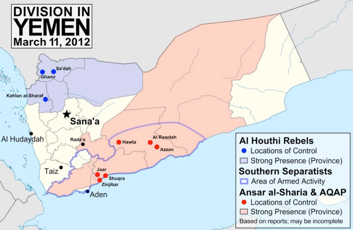 Asia-Oriente Medio-Yemen-Guerra-primaveras árabes-mapa