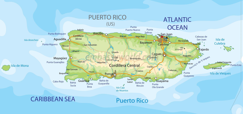 América-caribe-EEUU- Puerto Rico- mapa isla Puerto Rico