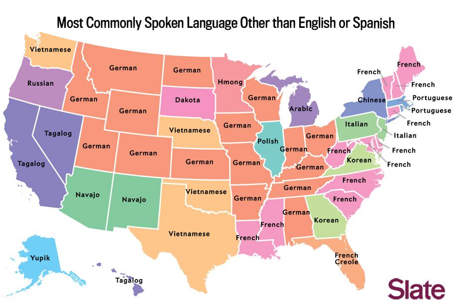 El navajo es, tras el inglés y el español, el idioma más hablado en los Estados de Nuevo México y Arizona. Fuente: Slate