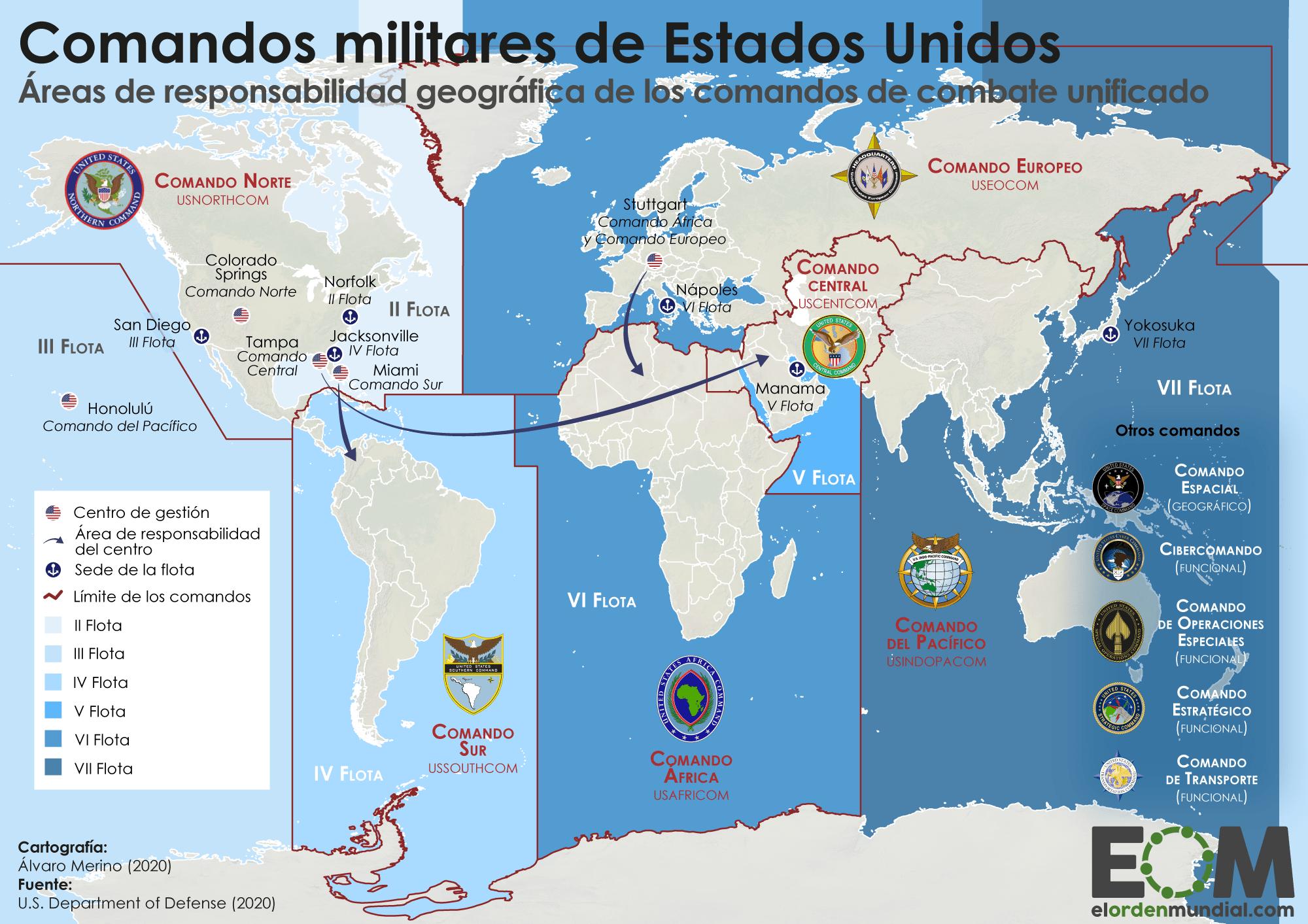 Los comandos militares de Estados Unidos - Mapas de El Orden Mundial - EOM