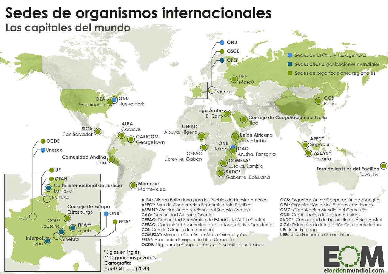 Localización de sedes de organizaciones y organismos internacionales