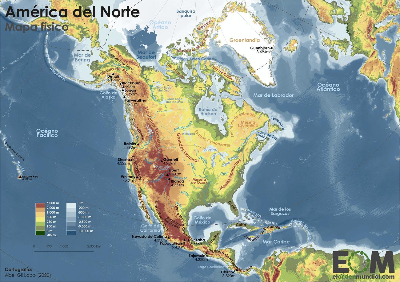 El Mapa Físico De América Del Norte Mapas De El Orden Mundial Eom