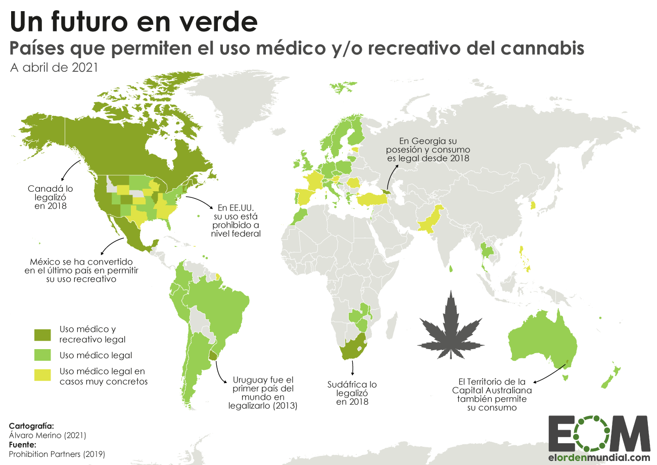 Mapa del cannabis legal en el mundo