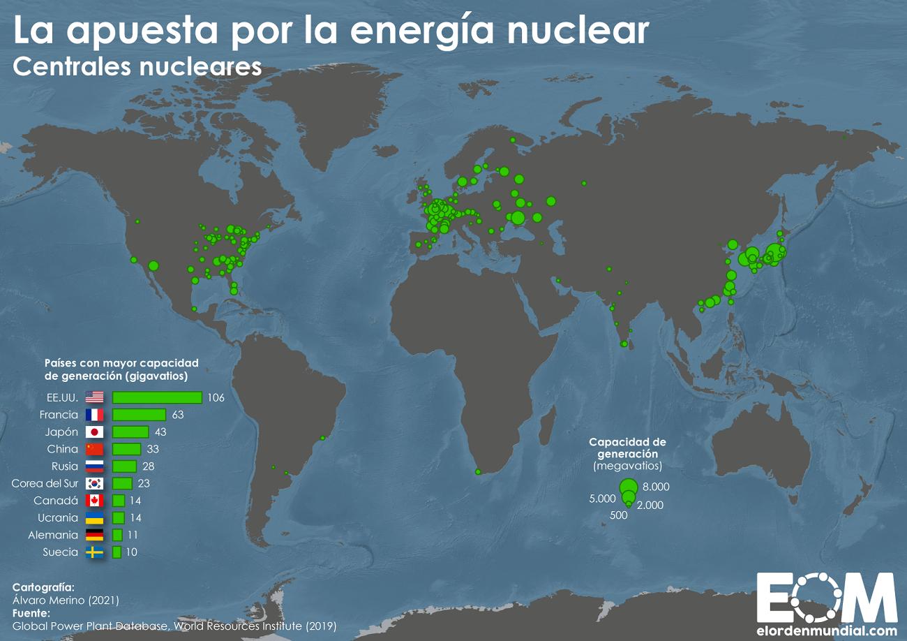 Mapa de las centrales nucleares en el mundo