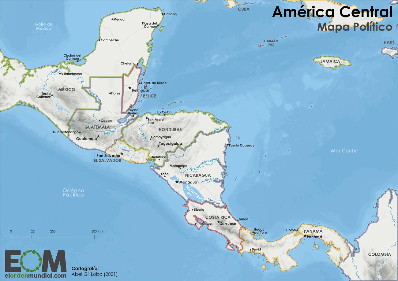 Mapa político de América Central
