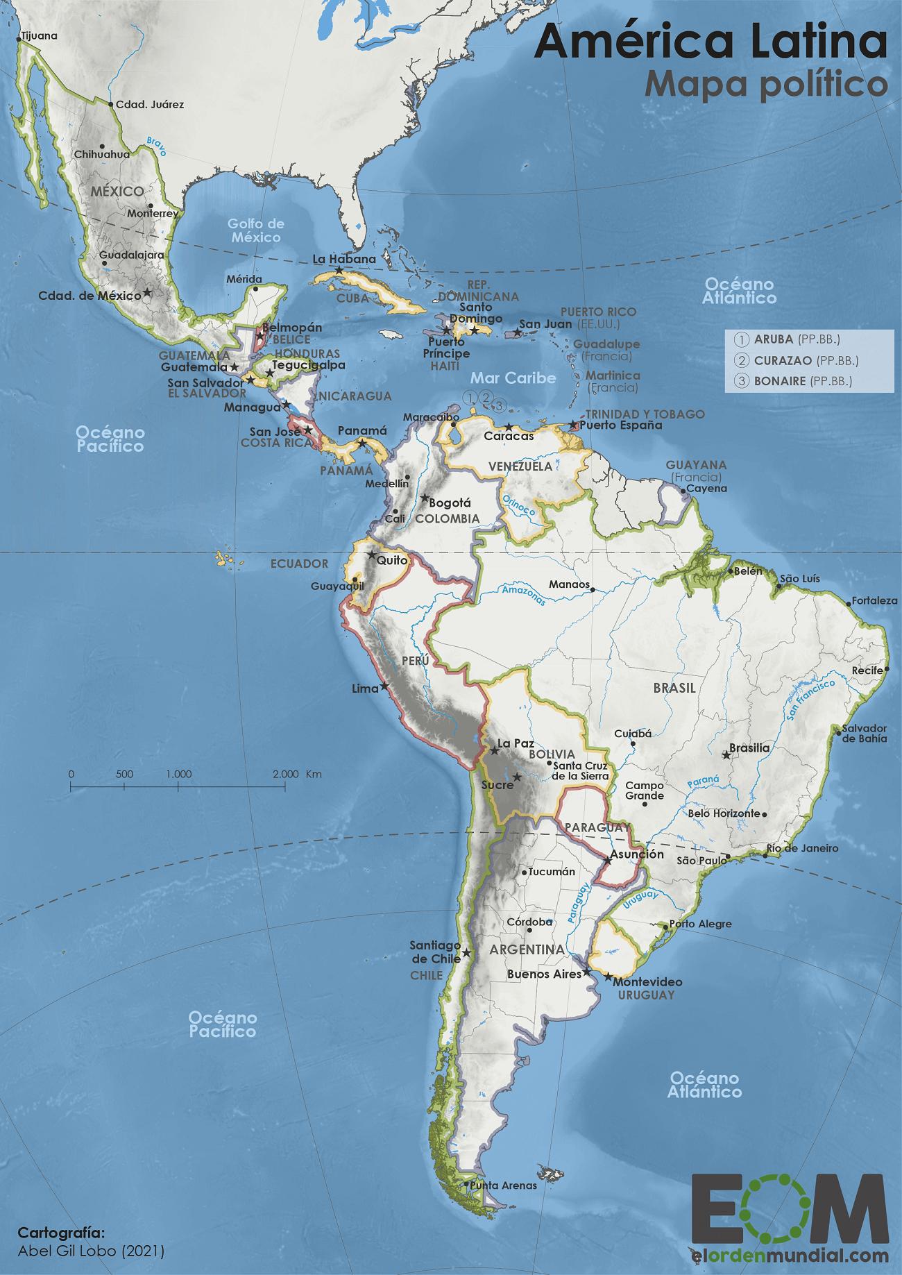 Mapa político de América Latina